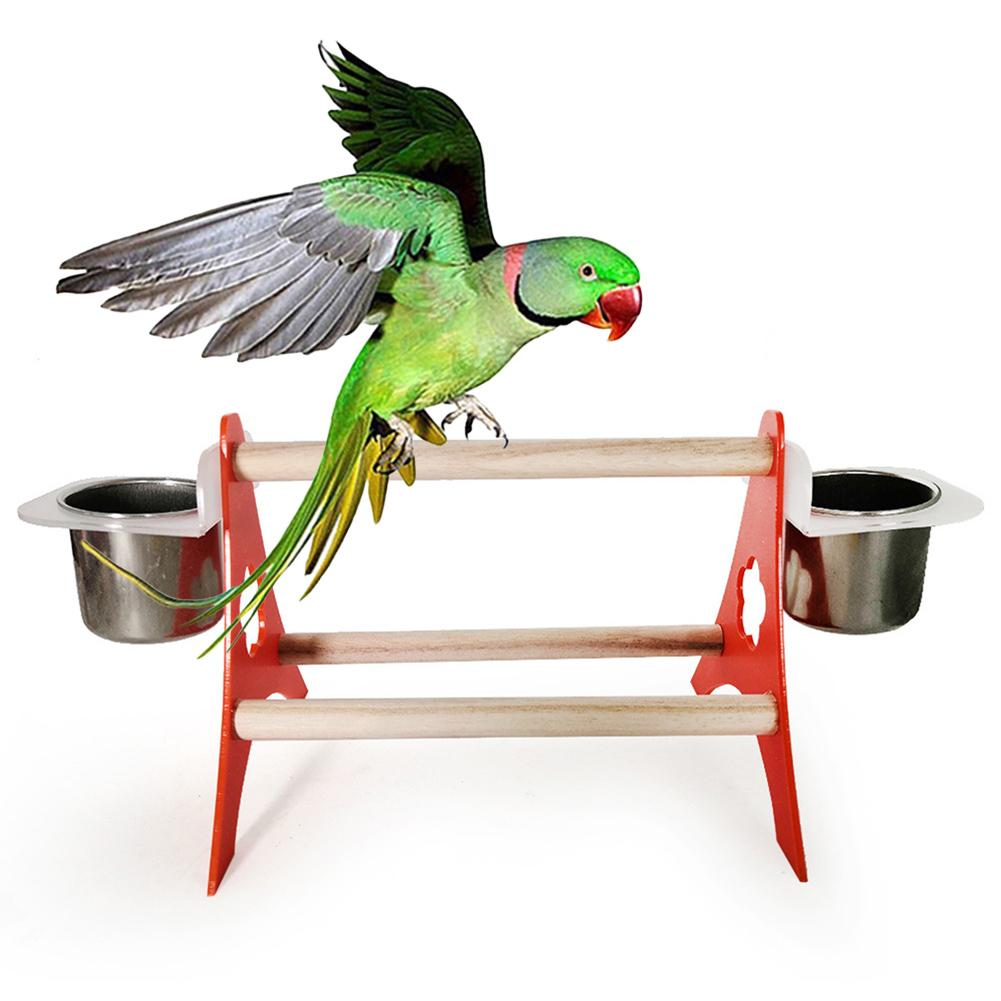 Parrot Stand with food cops - Parrottoysplus