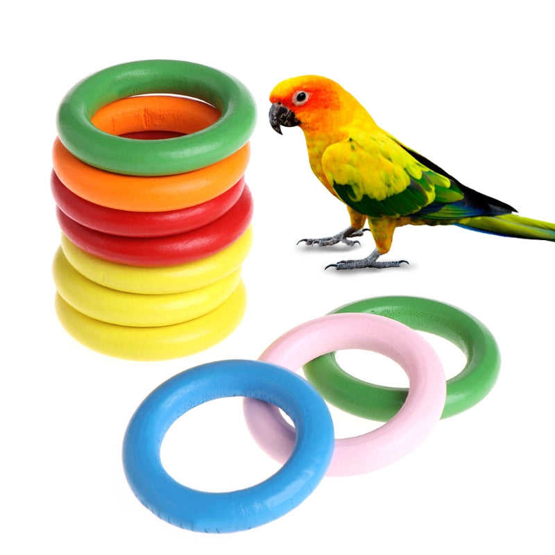 10 Pcs/Bag Colorful Wood Rings - Parrottoysplus