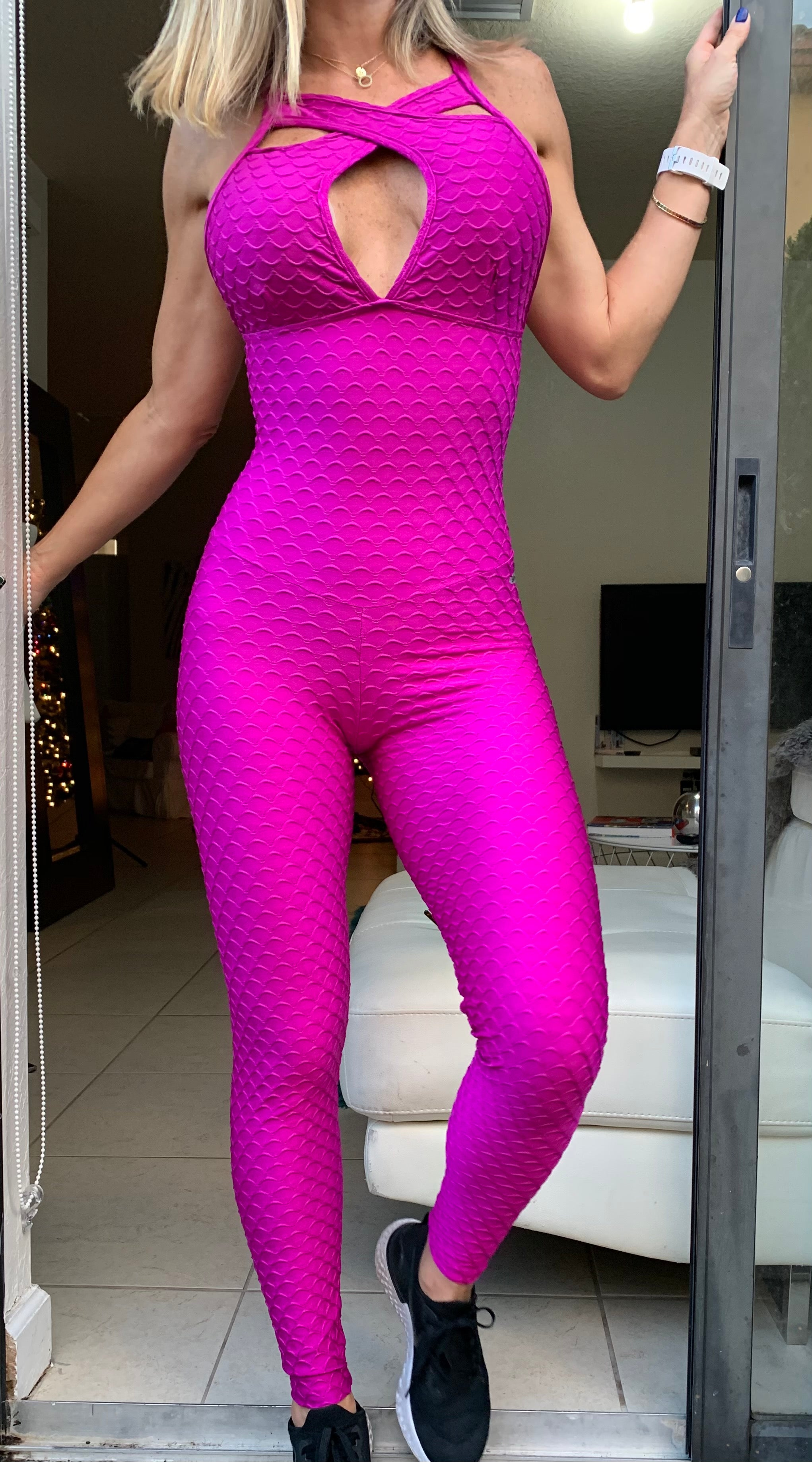 Pink mate glow textured jumpsuit