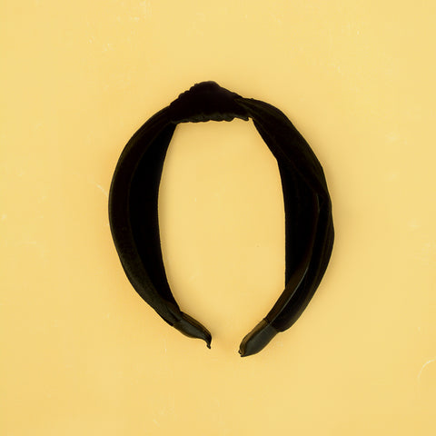 Nearly Headless Headband - Black Velvet Knot Headband - Single Flat Lay | Sundree Accessories