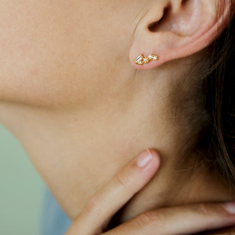 Breadcrumbing Crawlers - Dainty Gem Crawler Earrings - Model Ear Closeup | Sundree Accessories