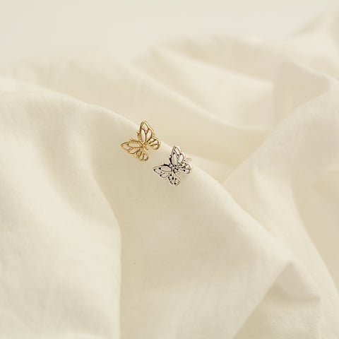 Anya Cuff - Butterfly Ear Cuff - Double Ear Cuff Flat Lay Gold And Silver | Sundree Accessories