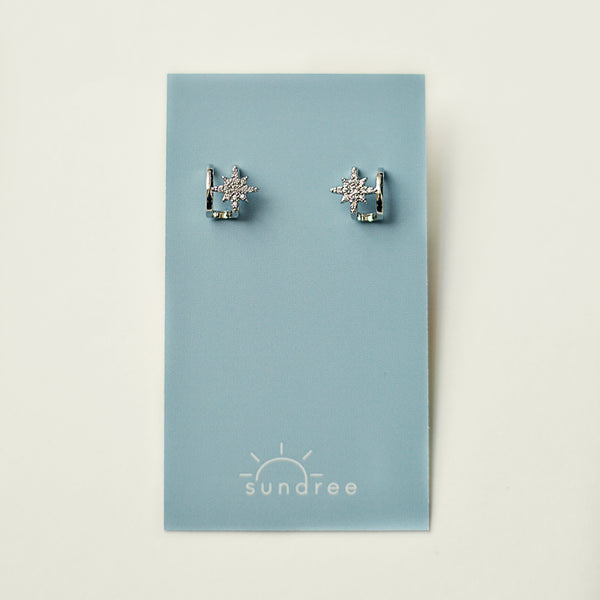 City of Stars Hoops - Faux Double Piercing Mini Hoop Earrings - Detail Earring Card Silver | Sundree Accessories