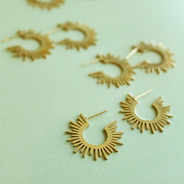 Coronation [of King Henry] Hoops - Golden Rays Hoop Earrings - Group Flat Lays | Sundree Accessories