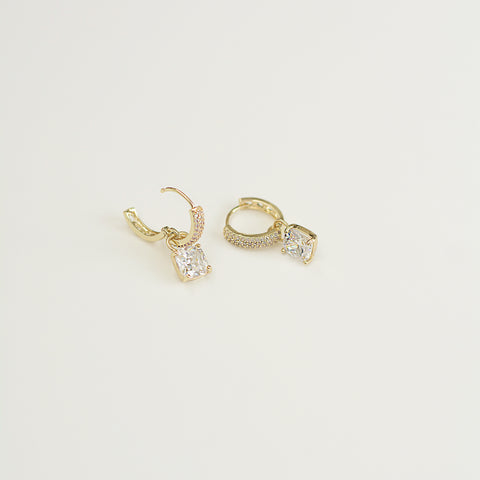 All Too Well Huggies - Gold Pavé Square Crystal Charm Huggies - Flat Lay White Background | Sundree Accessories
