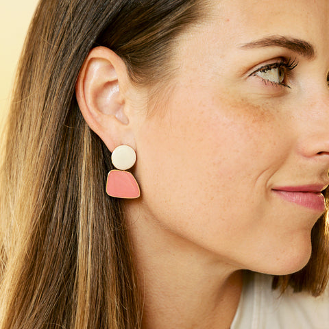 Lobster Two Drops - Pink And White Geometric Drop Earrings - Model Profile | Sundree Accessories