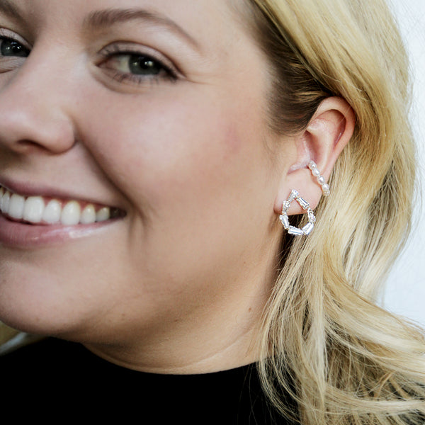 GNO Drops - Crystal Teardrop Mini Drop Earrings - Model Smiling | Sundree Accessories