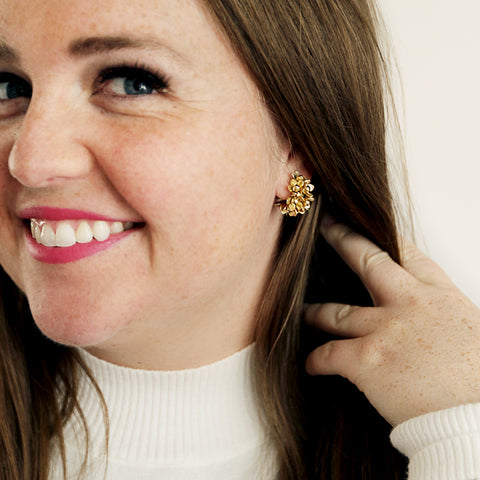 Mae Hoops - Gold Flower Hoop Earrings - Earring Model Pulling Hair Back | Sundree Accessories