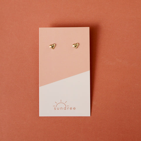 Motina Studs - Tiny Gold Filled Heart Stud Earrings - Flat Lay Earrings On Card | Sundree Accessories
