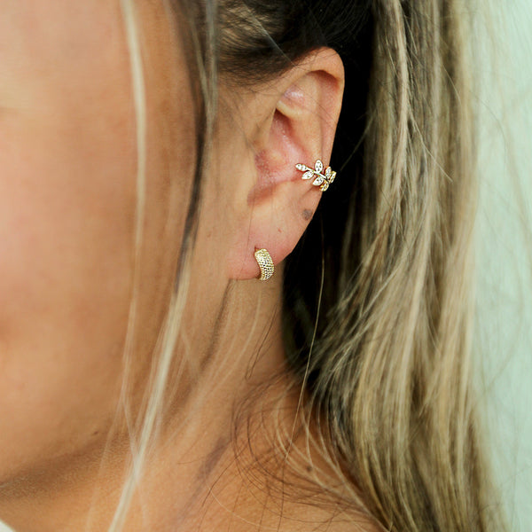 My Chick Bad Hoops - Tiny Gold Textured Huggie Earrings - Model Closeup | Sundree Accessories