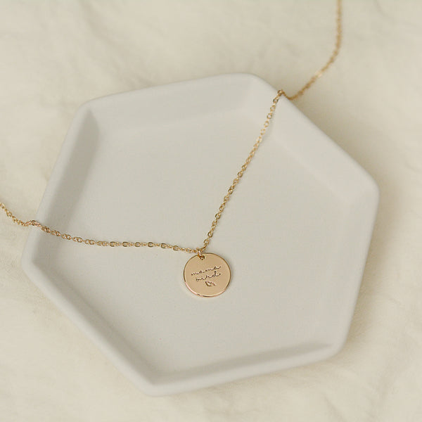 Eomma Sae Necklace - Gold Mama Bird Disc Charm Necklace - Single Necklace Flat Lay | Sundree Accessories