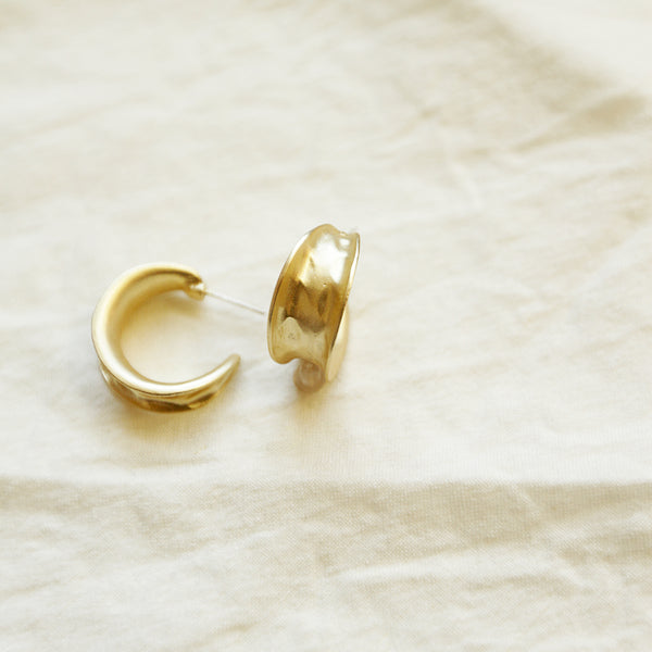 Wash And Fold Hoops - Matte Gold Hammered Hoop Earrings - Flat Lay | Sundree Accessories