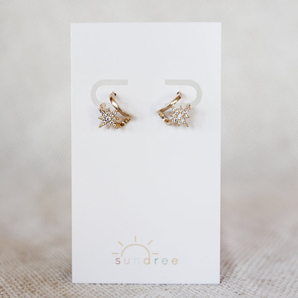 City of Stars Hoops - Faux Double Piercing Mini Hoop Earrings - Detail Earring Card | Sundree Accessories