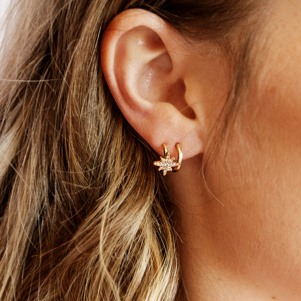 City of Stars Hoops - Faux Double Piercing Mini Hoop Earrings - Zoom Model | Sundree Accessories