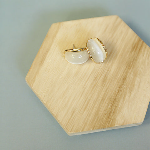 Faster Than You Could Say Sabotage Studs - Curved Oval Oversized Cream Stone Stud Earrings - Flat Lay | Sundree Accessories