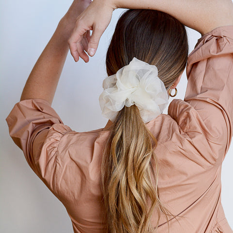 Umi Scrunchie - Oversized Sheer Off White Scrunchie - Hair Model Looking Back | Sundree Accessories