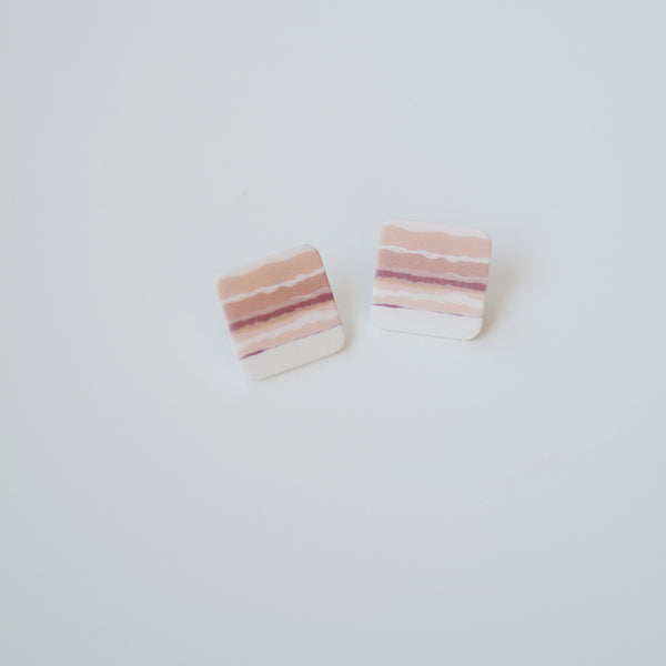 The Ryan Studs - Geometric Pink Striped Stud Earrings - Flat Lay White Background | Sundree Accessories