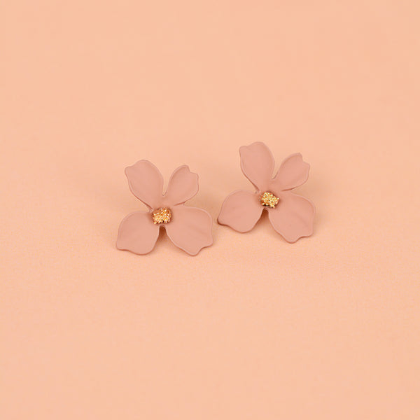 Match Of The Season Studs - Metal Flower Oversized Studs - Flat Lay Pink Flower Stud Earrings | Sundree Accessories