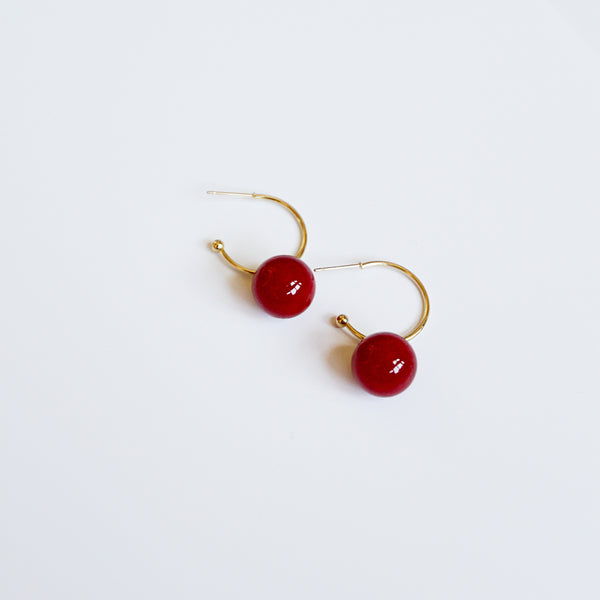 Eating Because I'm Bored Hoops - Red Ball Charm Gold Hoop Earrings - Flat Lay | Sundree Accessories