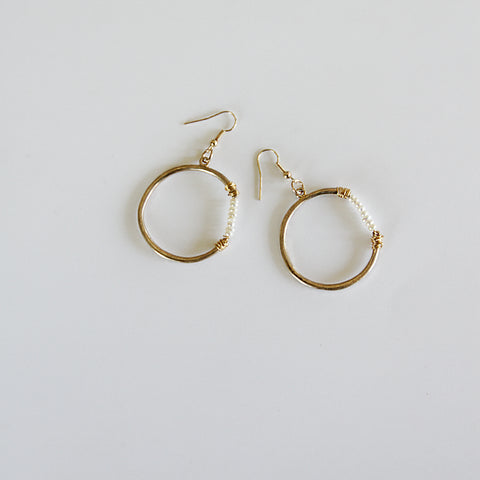 2020 Drops - Side Freshwater Pearl Hoop Drop Earrings - Flat Lay | Sundree Accessories