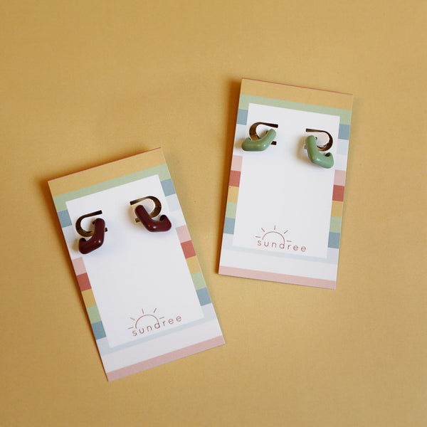 Mainstreet Hoops - Lightweight Retro Square Hoop Earrings - Flat Lay Maroon + Mint Group | Sundree Accessories