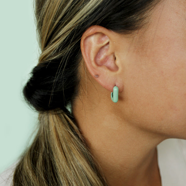 Mainstreet Hoops - Lightweight Retro Square Hoop Earrings - Model Closeup Detail Mint Color | Sundree Accessories