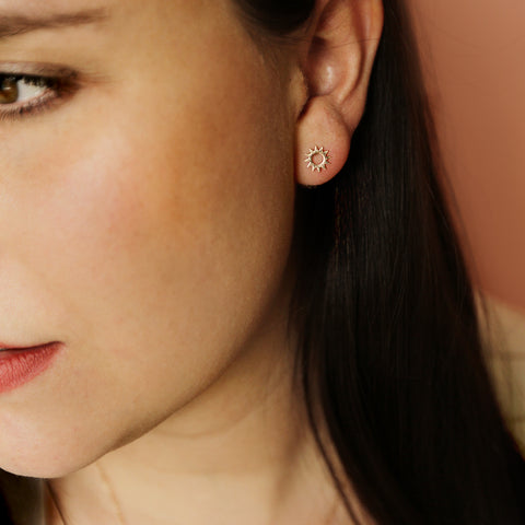 The Mario Studs - Dainty Gold Sun Stud Earrings - Model Closeup Detail | Sundree Accessories