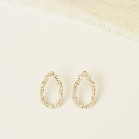 Okaasan Drops - Teardrop Shaped Drop Earrings Lined With Tiny Pearls - Earring Flat Lay Detail | Sundree Accessories