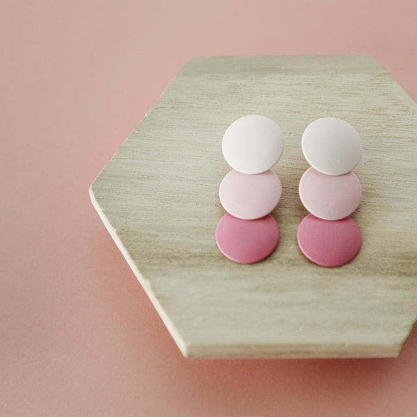 Strawberries And Cream [Strobe Bury Sink Ream] - Pink Ombre Circle Drop Earrings - Flat Lay Pink Background | Sundree Accessories