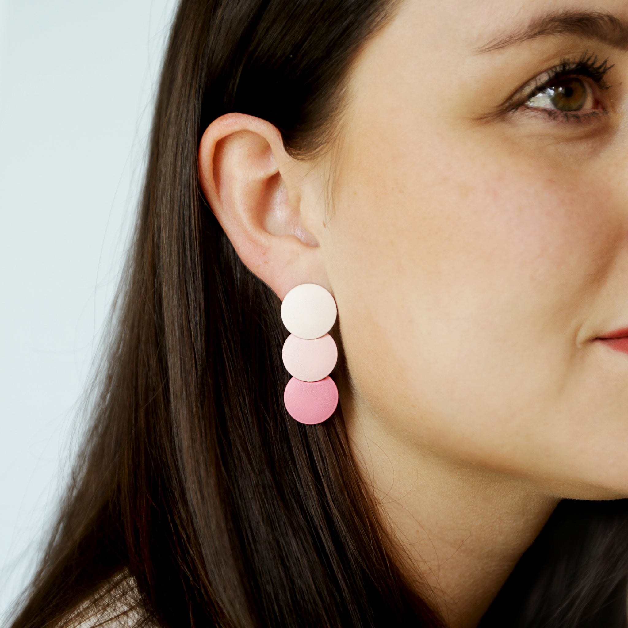 Strawberries And Cream [Strobe Bury Sink Ream] - Pink Ombre Circle Drop Earrings - Model Looking In The Distance | Sundree Accessories