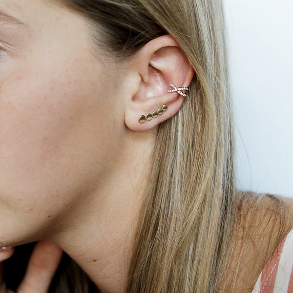 More Water, Less Caffeine Crawlers - Cascading Gold Circle Ear Crawlers - Closeup Detail | Sundree Accessories