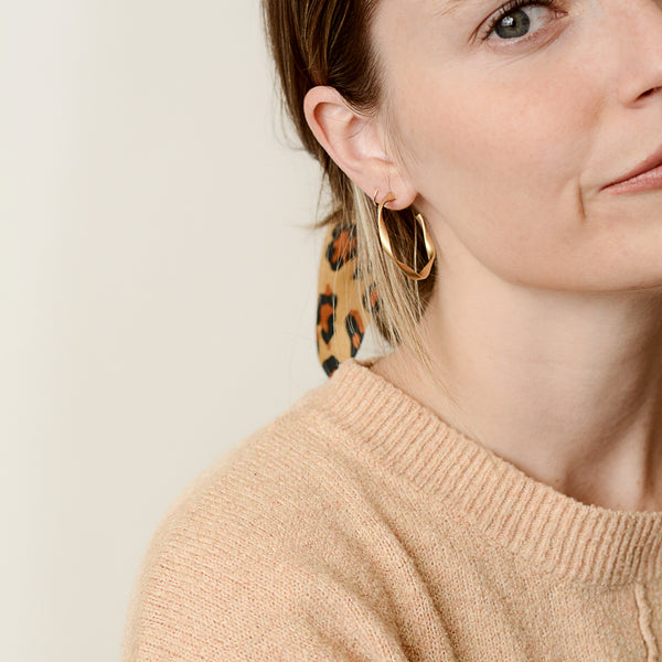 We Never Go Out Of Style Hoops - Gold Twist Hoop Earrings - Model Corner | Sundree Accessories