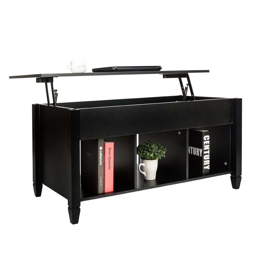 OfficeMateZ™ Lift Top Coffee Table Black With Solid Wood Legs