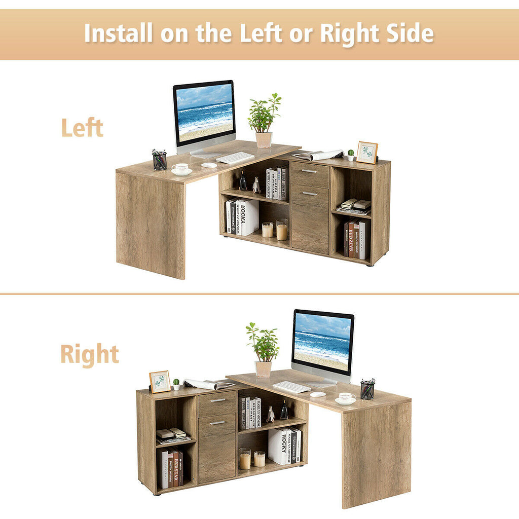 OfficeMateZ™ Rotating L Shaped Desk Rotating Corner Desk Rotating Computer Desk