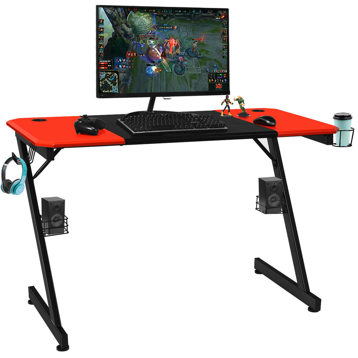 OfficeMateZ™ Gaming Computer Desk Large Carbon Fiber Surface Z Shape Design