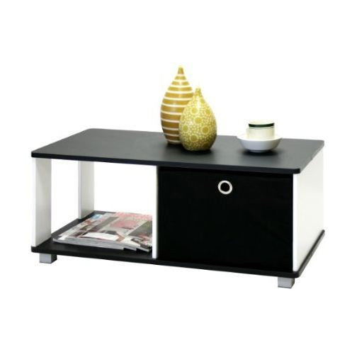 OfficeMateZ™ Black And White Coffee Table With Drawers Simple Coffee Table