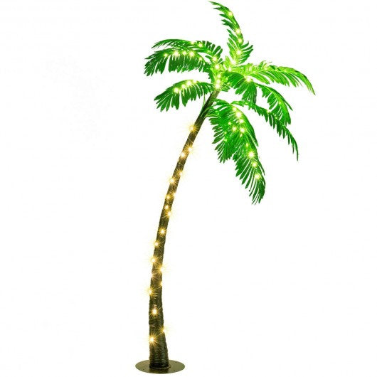 5 Feet Artificial Palm Tree With LED Lights For Indoor Or Outdoor Decoration