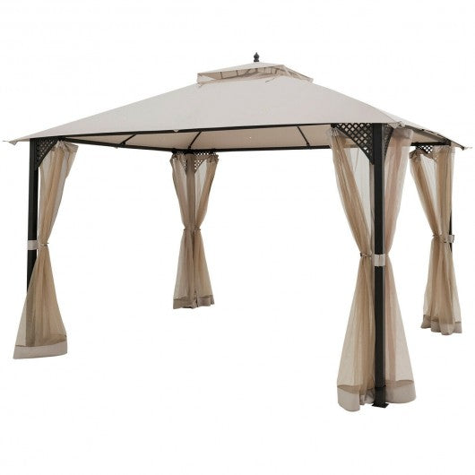 10x12 Feet Double Top Outdoor Patio Gazebo With Sides