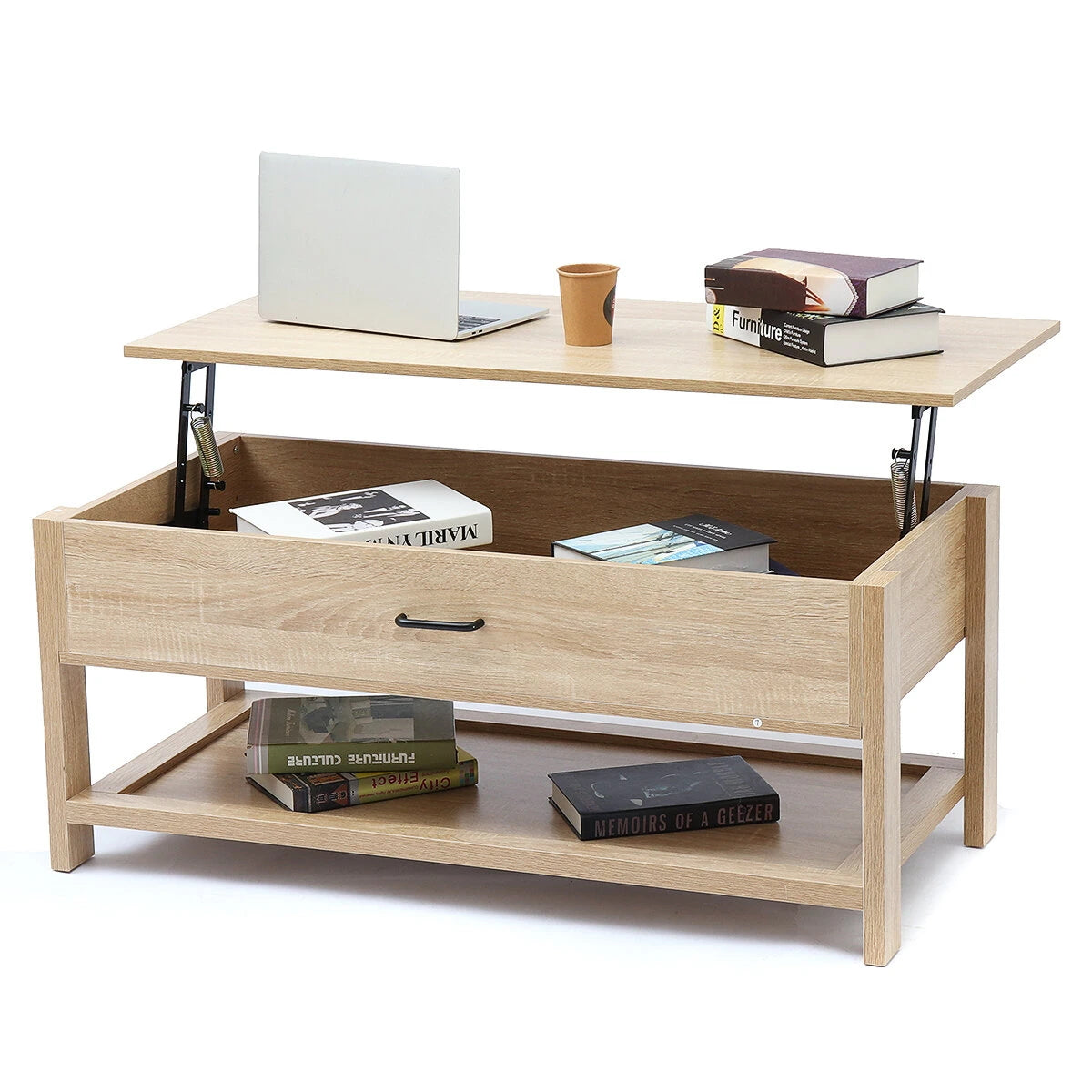 OfficeMateZ™ Lift Top Coffee Table Modern Lift Up Coffee Table Solid Wood