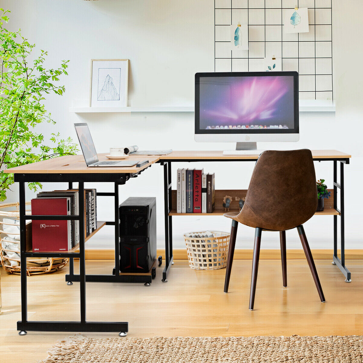 OfficeMateZ™ Computer Desk With Bookshelf L Shaped Desk With Bookshelf