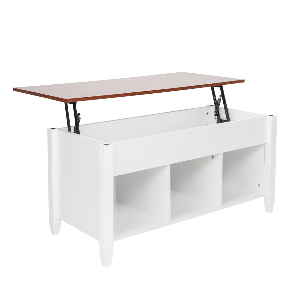 OfficeMateZ™ Lift Top Coffee Table Brown Top With White Body Solid Wood Legs