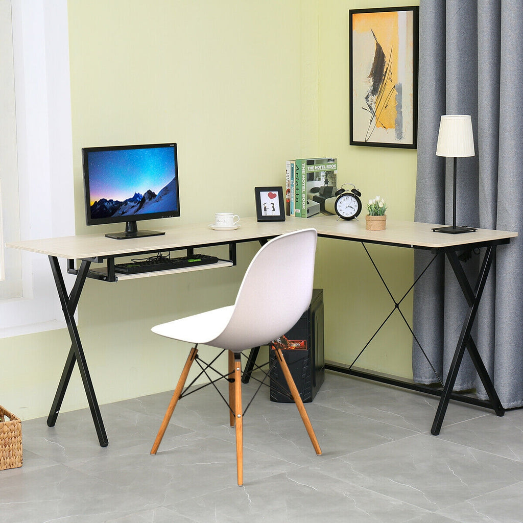 OfficeMateZ™ L Shaped Computer Desk Corner Writing Desk Wood With Keyboard Tray