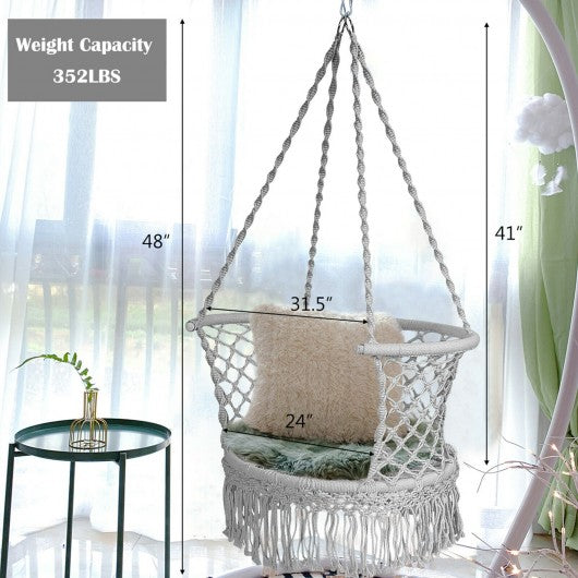Hanging Hammock Chair Macrame Swing Hand Woven Cotton With Backrest