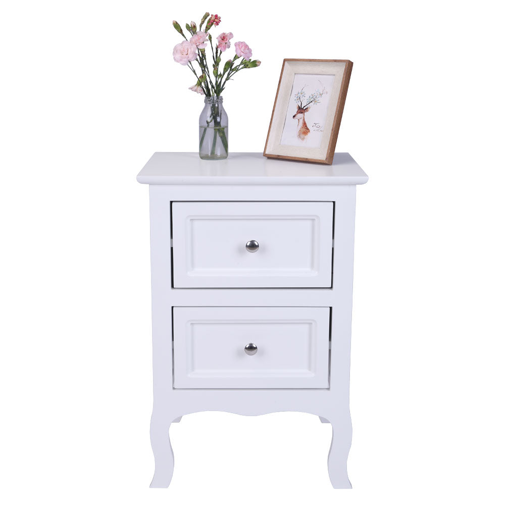 2 Drawer White Nightstand Country Style Bedside Table