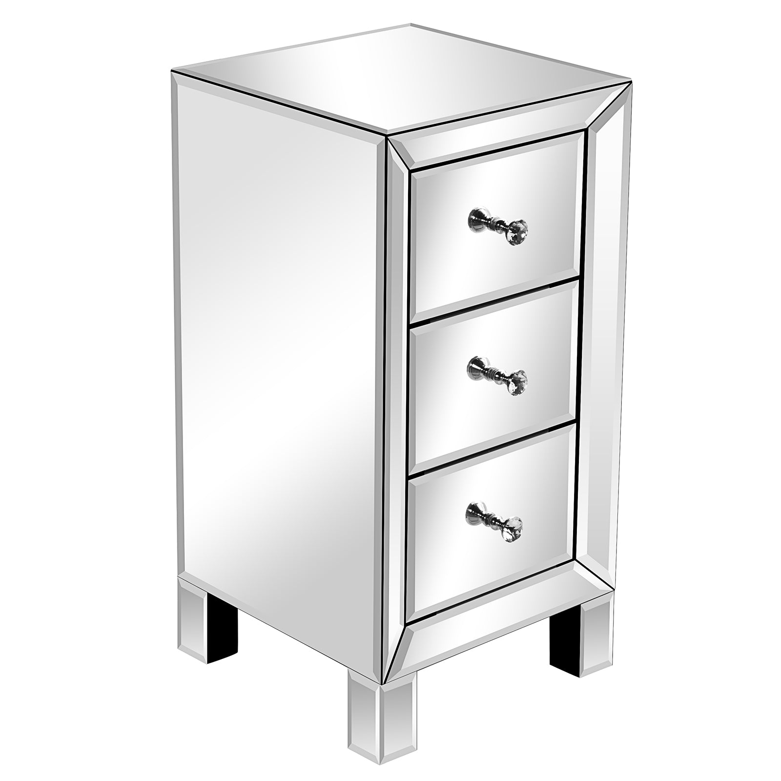 3 Drawer Mirrored Nightstand Mirrored Bedside Table