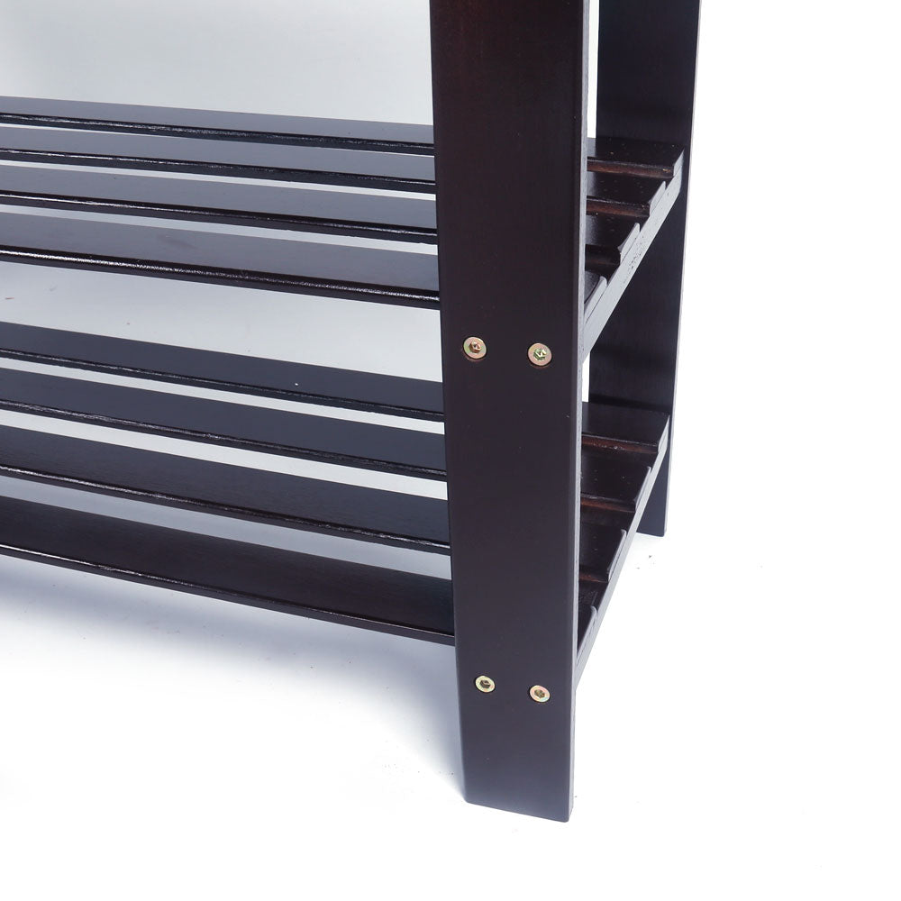 BambooJack™ 3 Tier Bamboo Shoe Rack Bench And Stool Strip Pattern