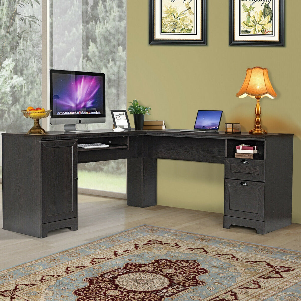 OfficeMateZ™ Wood L Shaped Desk Wood L Shaped Computer Desk With Storage And Shelves