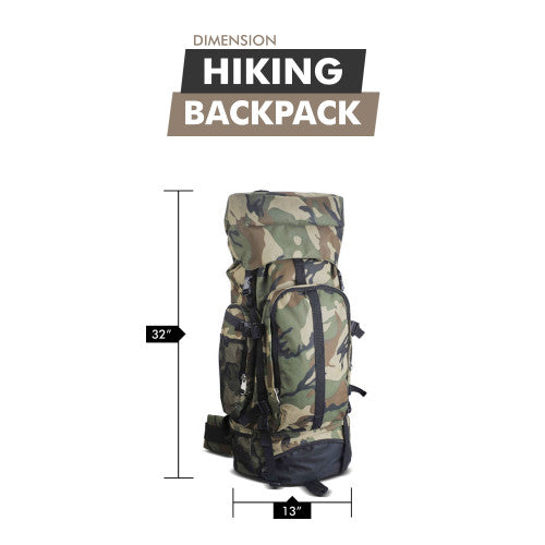 "32"" Large Hiking Backpack Waterproof Camouflage For Camping Backpacking Mountaineering"