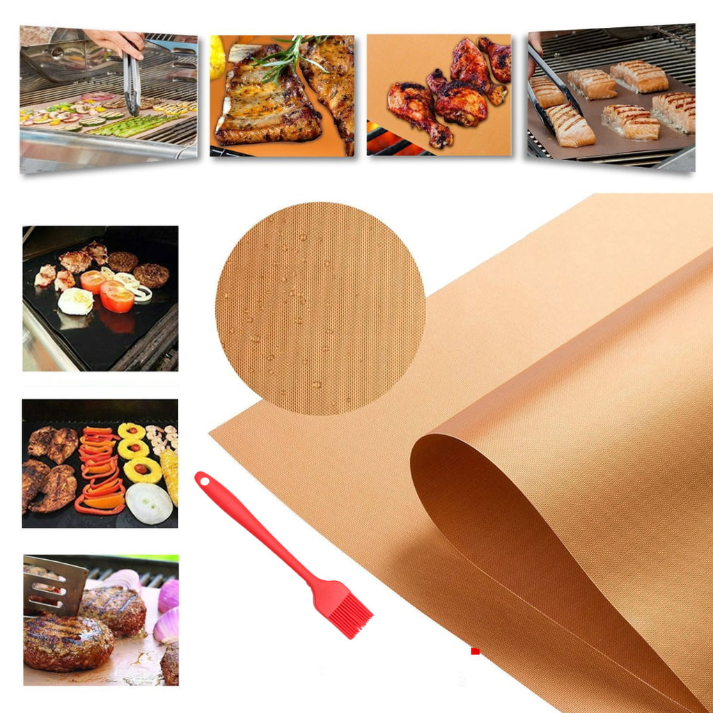 CopperWareZ™ Copper Grill Mat Copper Grill Sheet Copper BBQ Mat 4 Piece Set