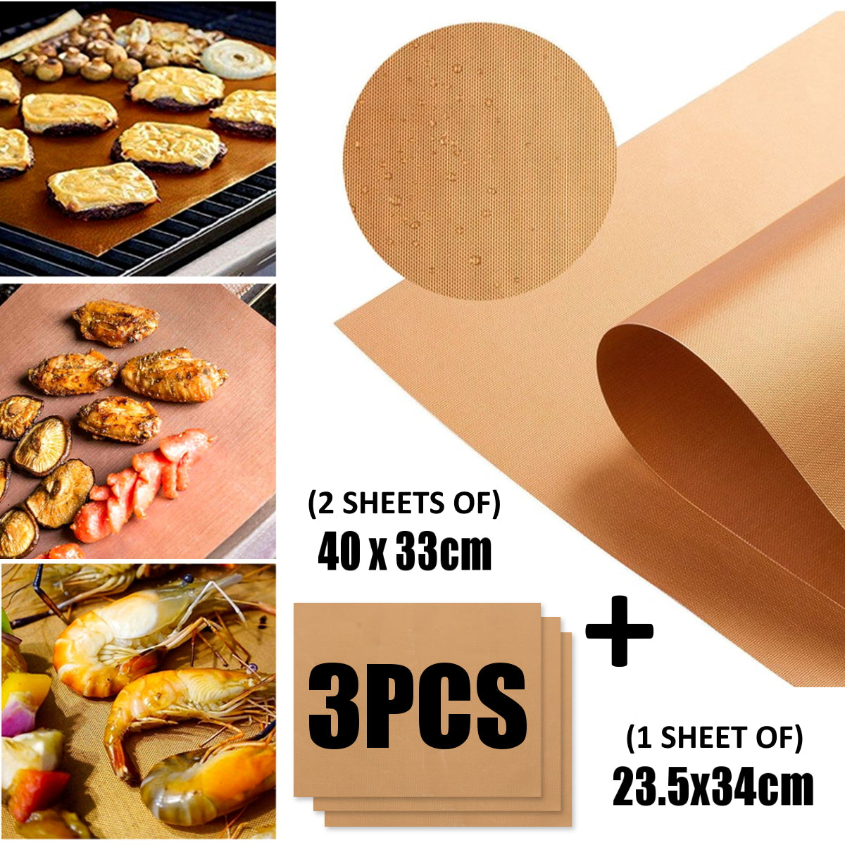 CopperWareZ™ 3 Piece Set Copper Grill Mat Copper Grill Sheet Copper BBQ Mat